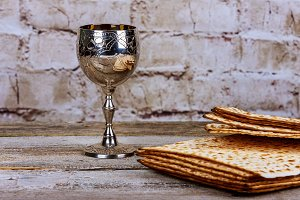 Passover holiday concept with matzoh