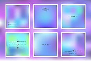 Hologram bright backgrounds set