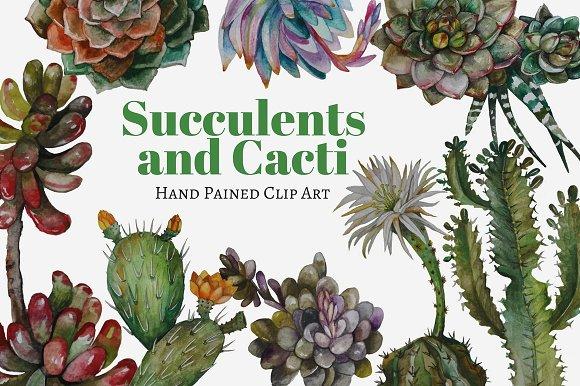 Succulents And Cacti Clip Art Set