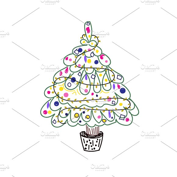 Christmas Tree In Sketch Style