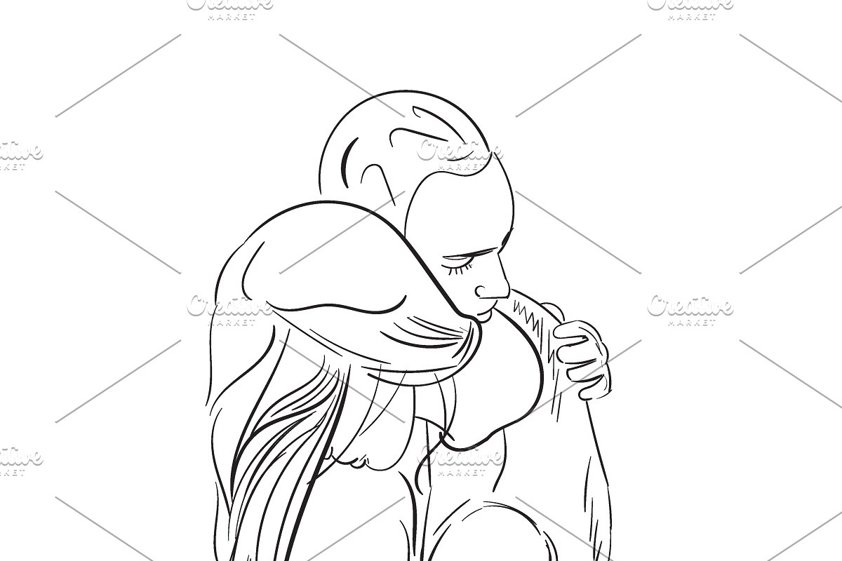 Save man hugging woman sketch style
