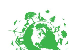Renewable energy, eco planet, vector