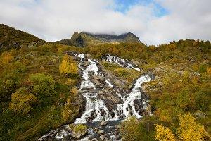 Lofoten waterfall on Moskenesoya, Lofoten, Norway