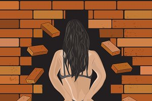 brick wall and girl in the crack