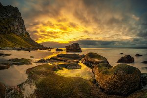 Uttakleiv beach in Norway at sunset