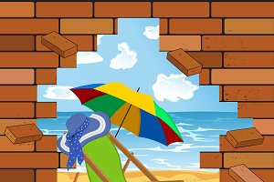 brick wall and beach in the crack