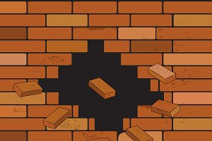 brick wall and crack, vector illustr