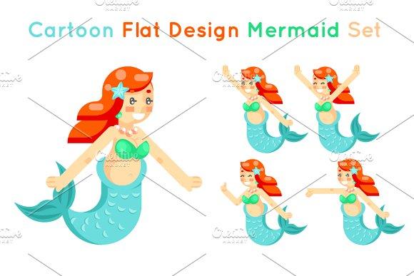 Cartoon Cute Mermaid Girls Set Flat