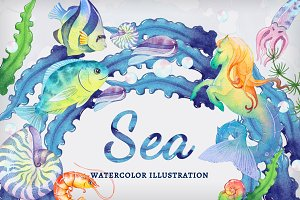 Sea set. Watercolor illustrations.