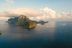 The beautiful bay aerial view. Tropical islands.