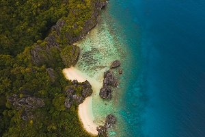 Beautiful tropical lagoon, aerial view. Tropical island.