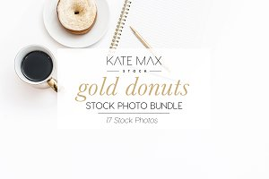 Gold Donuts Stock Photo Bundle