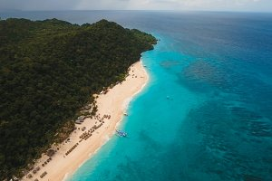 Aerial view beautiful tropical island and sand beach. Boracay island Philippines.