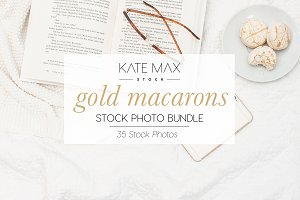 Gold Macarons Stock Photo Bundle