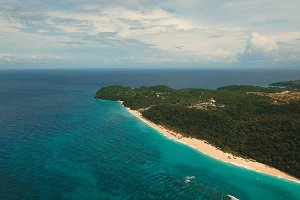 Aerial view beautiful beach on tropical island. Boracay island Philippines.