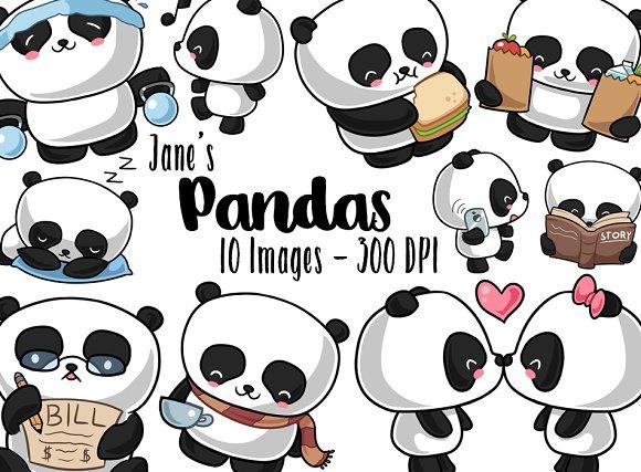 Kawaii Pandas Clipart