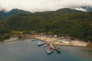 Sea passenger ferry port aerial view .Camiguin island, Philippines.