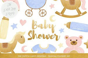 Baby Shower Clipart Set