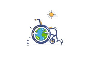 whellchair or invalid disabled vector flat illustration