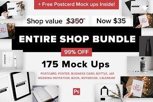 175 Mockups + Free Postcard Mockups