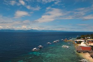 Aerial view beautiful beach on tropical island. Cebu island Philippines.