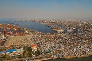 Cargo industrial port aerial view. Manila, Philippines.