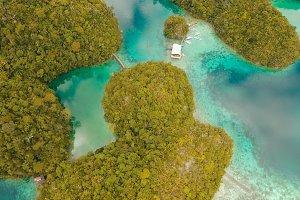 Aerial view tropical lagoon,sea, beach. Tropical island. Siargao, Philippines.