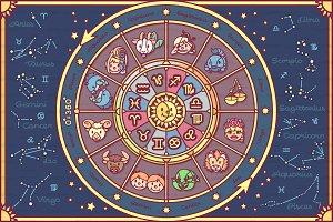 ♥ vector cute Zodiac circle for kids
