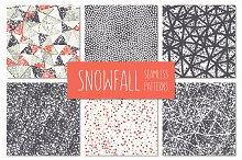 Snowfall. Seamless Patterns Set.