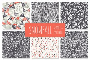 Snowfall. Seamless Patterns Set