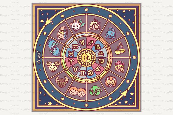 Vector Cute Zodiac Circle For Kids