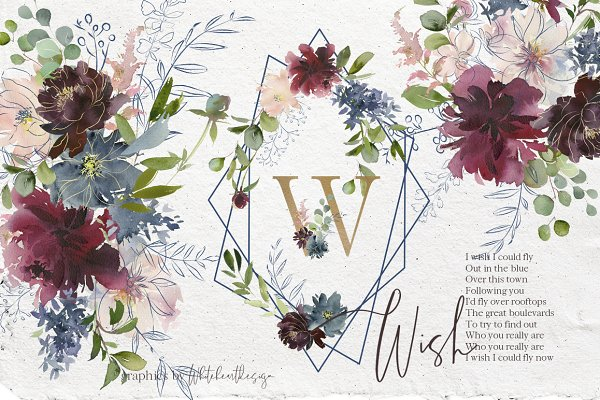 Wish Bordo Blue Watercolor Flowers