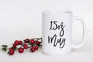 15 oz White Mug Mockup. PSD + JPG