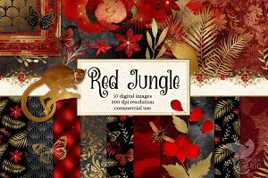 Red Jungle Digital Scrapbooking Kit