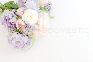 Styled Photo - Pastel Flowers Mockup