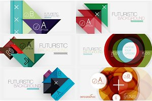 Set of minimalistic geometric banners with triangles and circles and other shapes. Web design or business slogan presentation templates