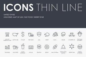 UNITED STATES thinline icons