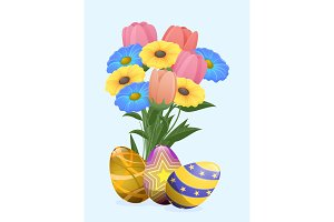 Beautiful Colored Eggs and Festive Spring Flowers