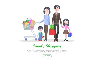 Family Shopping Cartoon Flat Vector Concept