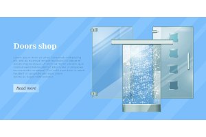 Glass Doors Conceptual Flat Vector Web Banner