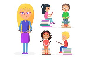 Blonde Girl Holds Book Full-length, Reading Kids
