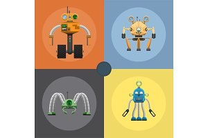 Cartoon Mechanical Steel Robots Illustrations Set