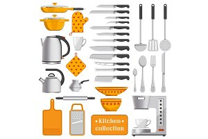Kitchen Collection of Tableware and Appliances