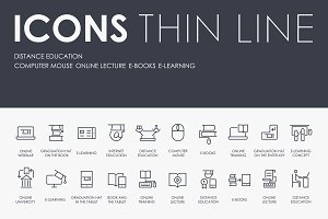 Distance education thinline icons