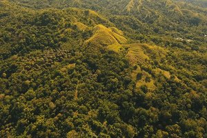 Mountains with tropical forest. Philippines Siargao island.