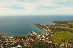 Coastal city near the sea. Philippines, Bohol.