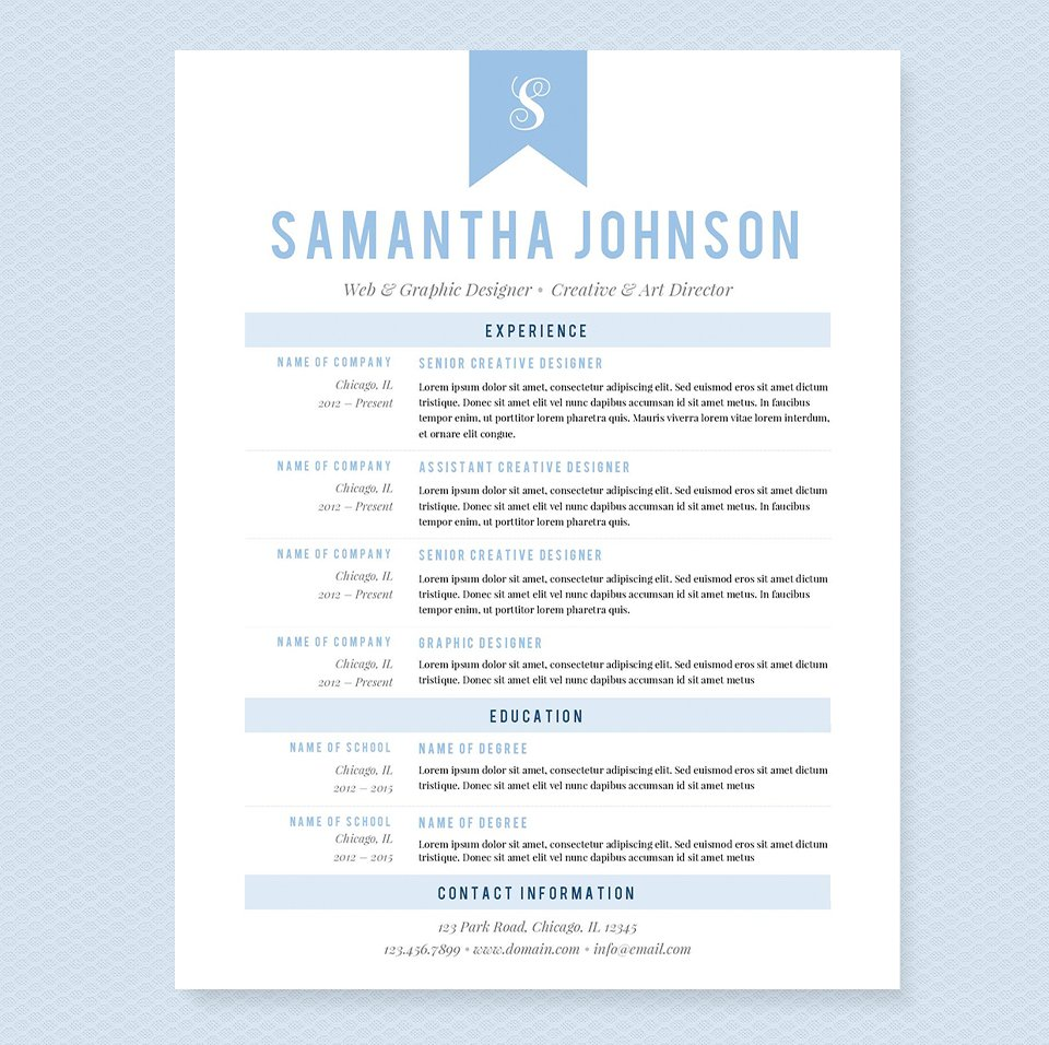 light blue resume template package resume templates creative market. Black Bedroom Furniture Sets. Home Design Ideas