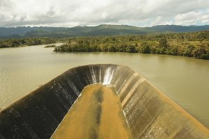 Aerial view dam on the lake, Bohol, Philippines.