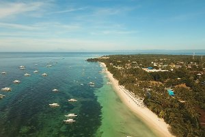 Aerial view beautiful Alona beach on a tropical island Bohol. Philippines.
