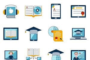 E-learning icons set